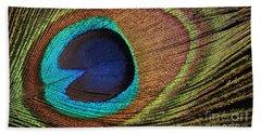 Eye Of The Peacock Beach Sheet by Judy Whitton