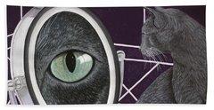 Beach Towel featuring the painting Eye See You by Karen Zuk Rosenblatt