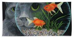 Beach Towel featuring the painting Eye To Eye Sq by Karen Zuk Rosenblatt
