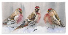 Snowy Birds - Eyeing The Feeder 2 Alaskan Redpolls In Winter Scene Beach Towel by Karen Whitworth