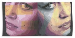 Beach Towel featuring the painting Faces by Rachel Hames