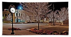 Fairhope Ave With Clock Night Image Beach Towel