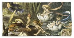 Fairies And Water Lilies Circa 1870 Beach Towel