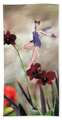 Beach Towel featuring the photograph Fairy In The Orchid Garden by Rosalie Scanlon