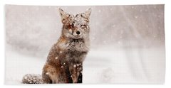 Fairytale Fox _ Red Fox In A Snow Storm Beach Towel by Roeselien Raimond