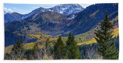 Fall At Cascade Peak And Sundance From Alpine Loop  Beach Towel