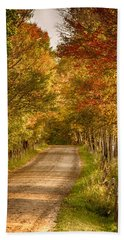 Fall Color Along A Peacham Vermont Backroad Beach Towel by Jeff Folger