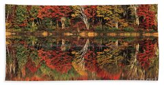 Beach Towel featuring the photograph Fall Color Reflected In Thornton Lake Michigan by Dave Welling