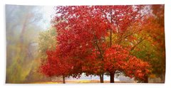 Fall Colored Trees Beach Sheet