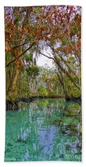 Fall Colors Along Three Sisters Spring Run Beach Towel