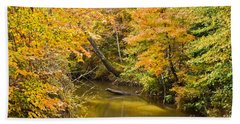 Fall Creek Foliage Beach Towel