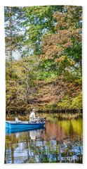 Beach Towel featuring the photograph Fishing Reflection by Debbie Green