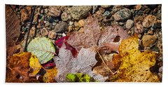 Fall Leaves In Water Beach Towel