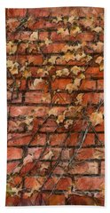 Fall Leaves On Red Brick Wall Beach Towel