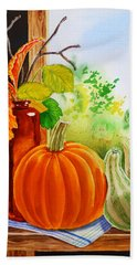Beach Towel featuring the painting Fall Leaves Pumpkin Gourd by Irina Sztukowski