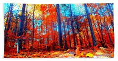 Fall On Fire Beach Towel