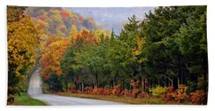 Fall On Fox Hollow Road Beach Sheet by Cricket Hackmann