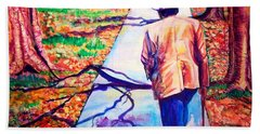 Beach Towel featuring the painting Fall On Highway 98' by Ecinja Art Works