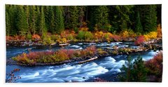 Fall On The Deschutes River Beach Sheet by Kevin Desrosiers