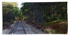 Fall Railroad Track To Somewhere Beach Towel