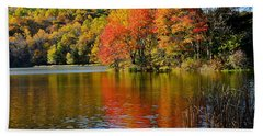 Fall Reflection Beach Towel by Todd Hostetter