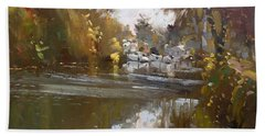 Fall Reflections At North Tonawanda Canal Beach Towel