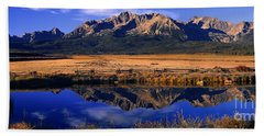 Beach Towel featuring the photograph Fall Reflections Sawtooth Mountains Idaho by Dave Welling