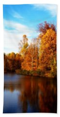 Fall Scene At Hedden Pond With Orton Effect Beach Sheet by Eleanor Abramson