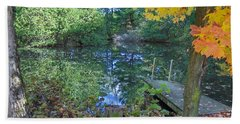 Beach Towel featuring the photograph Fall Scene By Pond by Brenda Brown