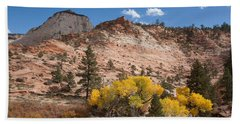 Beach Towel featuring the photograph Fall Season At Zion National Park by John M Bailey