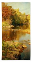 Fall Time At Rum River Beach Towel by Lucinda Walter