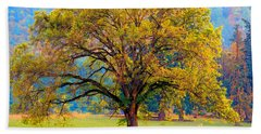 Fall Tree With Two Cows Beach Towel
