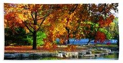 Fall Trees Landscape Stream Beach Towel