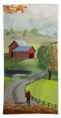 Beach Towel featuring the painting Fall Walk by Norm Starks