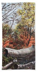 Beach Towel featuring the painting Fallen Trees On Southampton Common During Autumn by Martin Davey