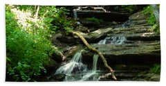Beach Towel featuring the photograph Falling Water by Alan Lakin