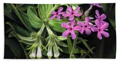 False Gromwell With Prairie Phlox Beach Towel