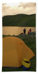 Family Camping At Highland Mary Lake Beach Towel