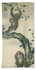 Family Of Monkeys In A Tree Beach Towel by Japanese School