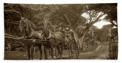 Family Out Carriage Ride On The 17 Mile Drive In Pebble Beach Circa 1895 Beach Towel