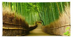 Famous Bamboo Grove At Arashiyama Beach Towel