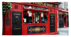 Famous Temple Bar In Dublin Beach Towel by IPics Photography