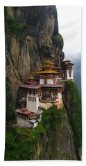Famous Tigers Nest Monastery Of Bhutan Beach Towel