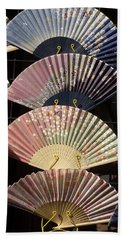 Fans For Sale At A Market Stall, Kyoto Beach Towel