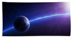 Fantasy Earth And Moon With Colourful  Sunrise Beach Towel