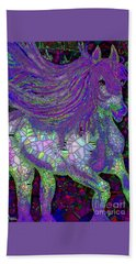 Fantasy Horse Purple Mosaic Beach Sheet by Saundra Myles