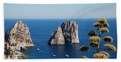 Beach Towel featuring the photograph Faraglioni In Capri by Dany Lison