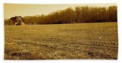 Farm Field With Old Barn In Sepia Beach Sheet by Amazing Photographs AKA Christian Wilson