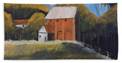 Beach Towel featuring the painting Farm With Red Barn by Pamela  Meredith