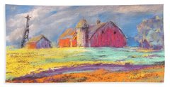 Farmland Sunset Beach Towel